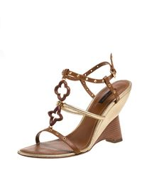 Louis Vuitton Brown Leather Wedge Sandals