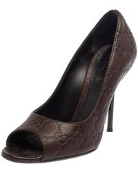 Gucci Brown Ssima Leather Peep Toe Pumps