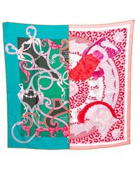 Hermès Green & Rose Plumets Du Roy Silk Scarf