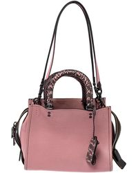 COACH Pink/black Leather And Snakeskin Rogue Tote