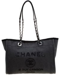 Chanel - Grey Fabric Medium Deauville Tote - Lyst