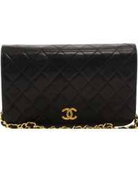Chanel - Black Quilted Leather Vintage Flap Bag - Lyst