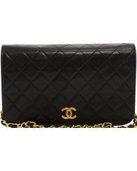 98061bfa34a3 Lyst - Chanel Vintage Black Lambskin Quilted Shoulder Camera Bag in ...