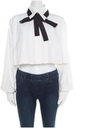 Chanel White Cotton Contrast Neck Tie Detail Cropped Blouse M
