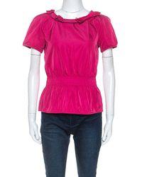 Louis Vuitton Pink Coated Silk Elasticized Waist Top M