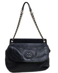 Tory Burch Black Leather Chelsea Flap Shoulder Bag