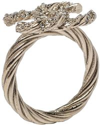 Chanel Pale Gold Tone Crystal Cc Twist Ring - Metallic