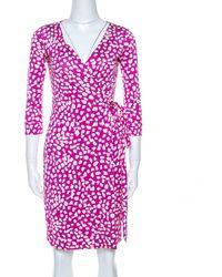 Diane von Furstenberg Pink Printed Silk New Julian Two Wrap Dress Xs
