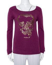 Zadig & Voltaire Zadig & Voltaire Luxe Purple Cashmere Sequin Embellished Skull Detail Sweater