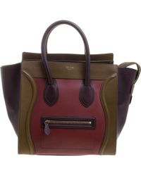 Céline Tri Colour Leather Mini Luggage Tote - Multicolour
