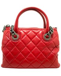 Chanel Red Quilted Leather Small Vintage Satchel