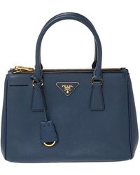 Prada Blue Saffiano Lux Leather Small Galleria Double Zip Tote