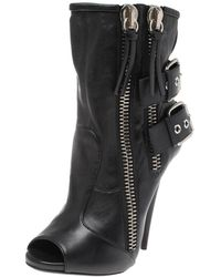 Giuseppe Zanotti Black Leather Peep Toe Biker Ankle Boots