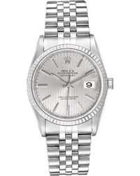 Rolex Silver Tapestry 18k White Gold And Stainless Steel Datejust 16234 Men's Wristwatch 36 Mm - Metallic