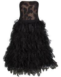 Tadashi Shoji - Black Tulle Embroidered Faux Feather Strapless Dress - Lyst