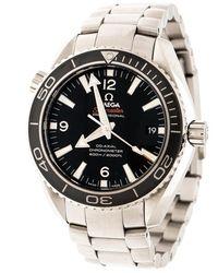 Omega Black Stainless Steel Seamaster Planet Ocean 23230422101001 Men's Wristwatch 42 Mm - Metallic