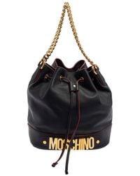Moschino Leather Drawstring Bucket Bag - Black