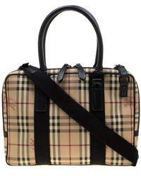 Burberry Beige/black Haymarket Check Pvc And Canvas Laptop Bag - Natural