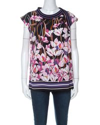 Ferragamo Multicolour Floral Print Silk Ribbed Trim Blouse