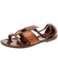 Bottega Veneta Brown Intrecciato Gladiator Sandals