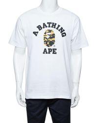 A Bathing Ape A Bathing Ape White Camo Logo Print Cotton Crew Neck T-shirt