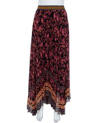 Alice + Olivia Multicolour Silk Chiffon Katz Floral Print Pleated Maxi Skirt