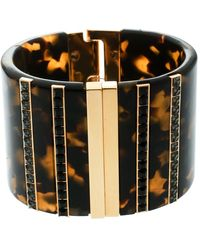 Etro Crystal Resin Gold Tone Wide Cuff Bracelet - Metallic