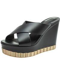 Ferragamo Black Leather Nicosia Wedge Platform Cross Strap Sandals