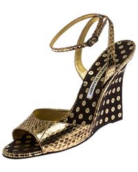 Manolo Blahnik Gold Python Embossed Leather Wedge Ankle Strap Sandals - Metallic