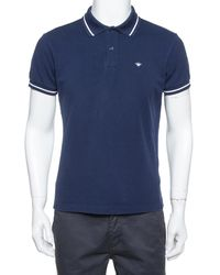 Dior Homme Navy Blue Cotton Pique Striped Collar Polo T-shirt