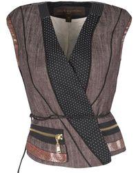 Louis Vuitton Paneled Leather Trim Corded Tie Detail Wrap Vest - Multicolor
