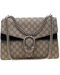 853d788a64758f Gucci - Beige GG Supreme Canvas Medium Dionysus Shoulder Bag - Lyst
