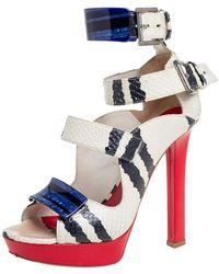 Alexander McQueen White/black Python Buckle Detail Ankle Cuff Pumps