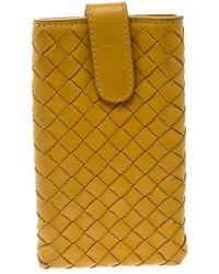 Bottega Veneta Yellow Intrecciato Leather Phone Case