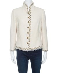 Chanel - Textured Wool Lurex Trim Detail Frayed Hem Jacket L - Lyst