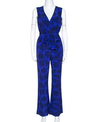 Diane von Furstenberg Royal Blue Printed Silk Sleeveless Jumpsuit