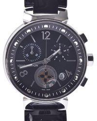 Louis Vuitton Black Stainless Steel Tambour Moon Star Q8g01z Wristwatch