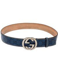 Gucci Blue Ssima Leather Interlocking G Buckle Belt