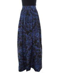 Max Mara Blue Printed Silk Maxi Skirt