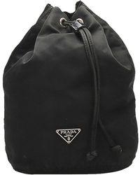 Prada Black Nylon Vela Drawstring Pouch Bag