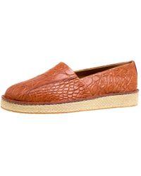 Ferragamo Cognac Crocodile Leather Lampedusa Espadrilles Size 43 - Brown