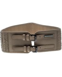 Burberry Beige Leather Ruffle Double Buckle Wide Belt 70cm - Natural