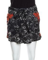 Isabel Marant Black And Red Eyelet Embroidered Cotton Nash Shorts M