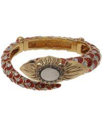 Roberto Cavalli - Snake Red Crystal Bangle Bracelet - Lyst