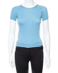 Louis Vuitton Powder Blue Cashmere Monogram Buttoned Top