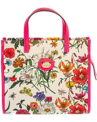 Gucci - Multicolor Canvas And Leather Trimmed Flora Tote - Lyst