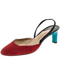 Paul Andrew Multicolour Suede And Leather Celestine Slingback Sandals