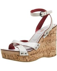 Miu Miu - White Leather Cork Wedge Platform Sandals - Lyst