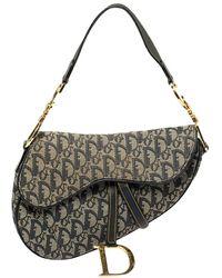 Dior Blue Oblique Denim And Leather Saddle Bag