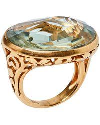 Pomellato Arabesque Prasiolite Quartz 18k Rose Gold Cocktail Ring - Metallic